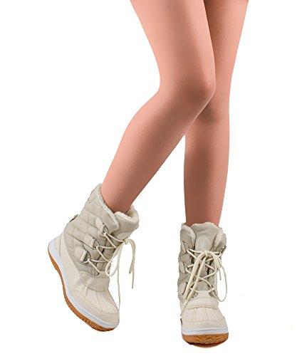 RF ZIMMER DER MODE Frauen Mid Kalb Arctic Warmer Pelz gefüttert Quilting Decor Wasserabweisend Eskimo Ankle High Snow Boots New Ivory - Kürzere Welle
