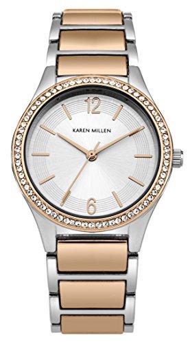 Karen-Millen-SKM003RGM-Reloj-de-cuarzo-para-mujeres-con-esfera-de-plata-y-correa-bicolor-de-aleacin