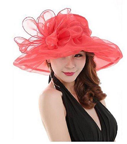 Vayage À Rouge Organza Couleurs Bord Fleur 8 Grand Plage Acvip Chapeau Femme Soleil D'été Large De En wIa1fqxU