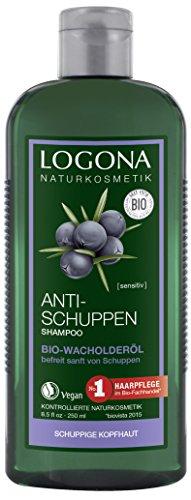 LOGONA Naturkosmetik Anti-Schuppen Shampoo Bio-Wacholderöl, Effektiv gegen Schuppen & Neubildung, Beruhigt gereizte & trockene Kopfhaut, Mit Bio-Pflanzenextrakten, 250ml