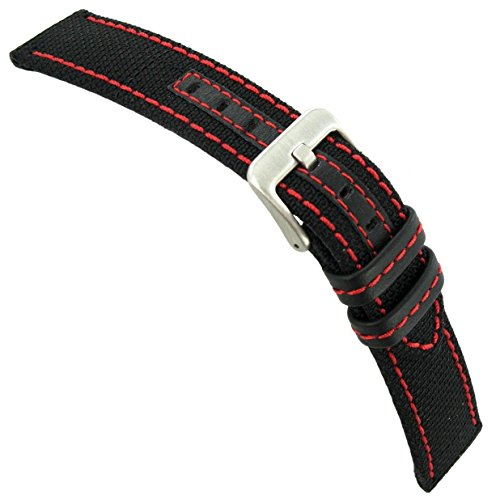 (24mm Hadley Roma Red Stitched Genuine Kevlar Black Watch Band Strap MS848)