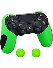Pandaren® silikon dickere gälfte skin hülle Schutzhülle für PS4 controller (grün) x 1 + thumb grips aufsätze x 2