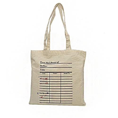 Library card tote bag. Library card with day due stamps...