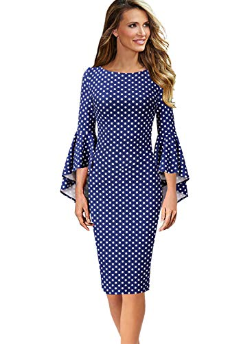VFSHOW Womens Polka Dot Print Bell Sleeves Cocktail Party Sheath Dress 1668 BLU ()