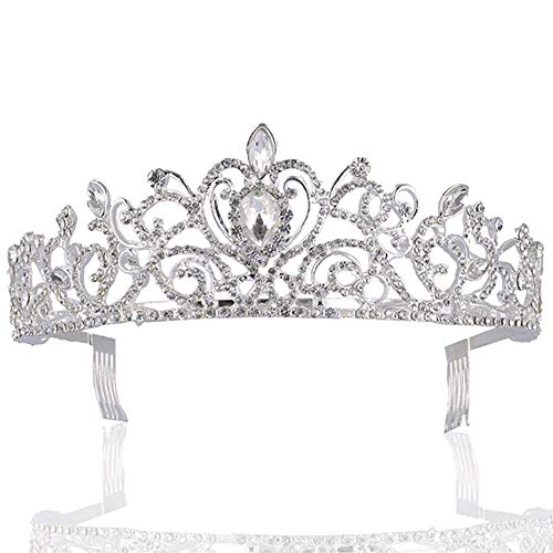 Sppry Women Tiara with Comb - Gorgeous Crystal Crown for Bridal Princess Girls in Wedding Birthday Pageant (Silver)