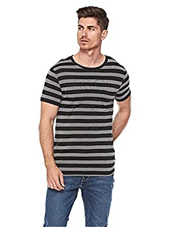 Lee Textured Stripe T-Shirt For Men - Pitch Black, Size Small