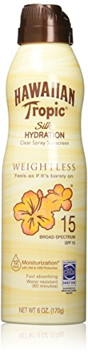 - Hawaiian Tropic Sunscreen Silk Hydration Moisturizing Broad Spectrum Sun Care Sunscreen Spray - SPF 15, 6 Ounce