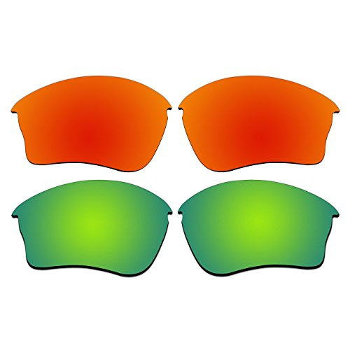 ACOMPATIBLE Replacement Polarized Fire Red and Emerald Green Lenses for Oakley Half Jacket XLJ Sunglasses