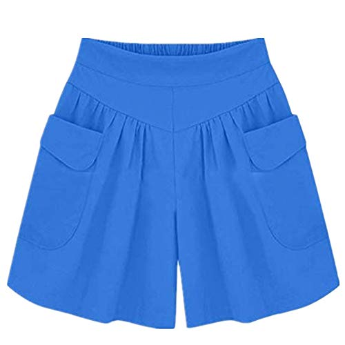 Woman Pocket Bandage Shorts Sexy Hollow Out Summer Buds Short Pants Blue