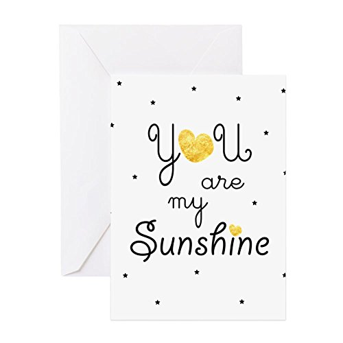 My Sunshine - Gold Greeting Cards - Greeting Card, Note Card, Birthday Card, Blank Inside Matte (Sunshine Note)