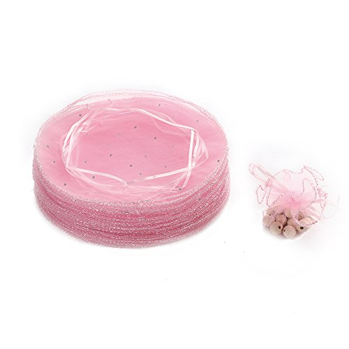 Dealglad 50pcs 25cm Round Drawstring Organza Jewelry Candy Pouch Christmas Wedding Party Favor Gift Packaging Bags (Pink)