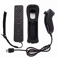 ocamo consola de juegos inalámbrico mando y nunchuck con funda de silicona accesorios para Nintendo Wii Consola de juegos, Negro