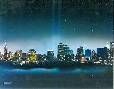 8x10 photo New York City September 11th 2001 Memorial Tribute Lights (World Trade Center Memorial)