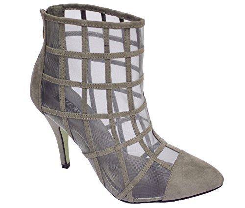 Mujeres Zapatos Milaya Nupcial Botas Diseñador Clásico Alto Fiesta Señoras Tobillo Tacón Zapatillas Boda Gris Paseo wq4Bqd