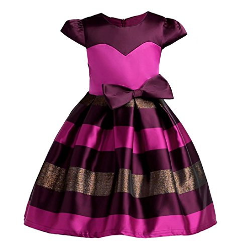 2001 Prom Dress Gown - Kids Showtime Flower Girls Strips Wedding Dress Special Occasion Christmas Party Gowns(2001/Burgundy&Rose,2-3Y)