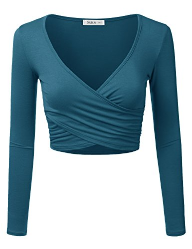 Doublju Deep V-Neck Fitted Surplice Wrap Crop Top for Women with Plus Size Teal X-Large ()