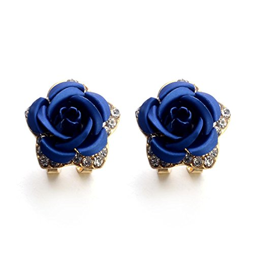 Medium 5mm Hoop Earrings (Earrings Studs for Women, Staron Fashion Bohemia Rose Flower Crystal Rhinestone Earrings Elegant Eardrop Jewelry (Blue❤️))
