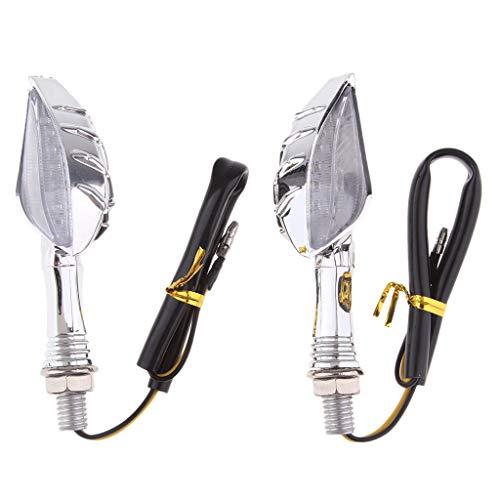 perfk Pair 12V Plastic Motorbike Front Rear Turn Signal Lights LED Indicator Blinker Lamp for Yamaha - Chrome:
