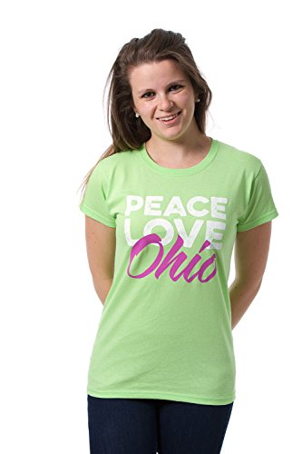Peace & Love Ohio State Womens T-shirt - Infinity Columbus Ohio Store