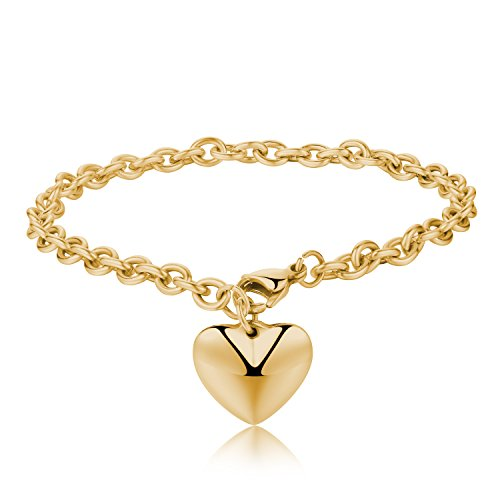 Areke Stainless Steel Chain Bracelets with Dangle Heart Charm 7.5 inch Style Gold (Original Batman Suit)