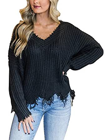 LEANI Women's Loose Knitted Sweater Long Sleeve V-Neck Ripped Pullover Sweaters Crop Top Knit Jumper - - Small