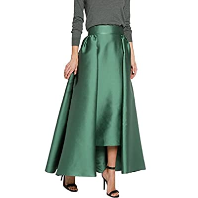 Lisong Women Floor Length Taffeta Pleated Party Skirt
