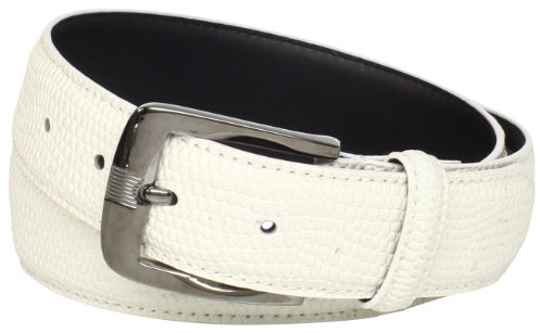 Stacy Adams Men's 32mm Genuine Leather Lizard Skin Print Belt With Brushed Nickle Buckle, Ivory, 34