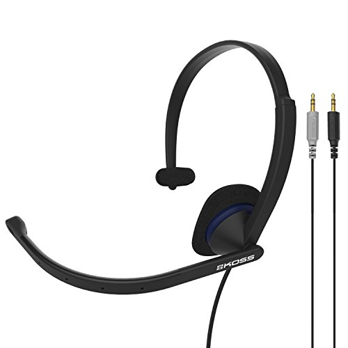 Koss CS195 Communication Headset Headphones | Single-Sided | 3.5mm Analog Plugs | Lightweight | D-Profile | Noise-Cancelling Electret Microphone | for Telephones and Office Phones