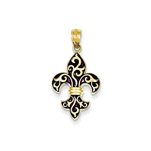 14k Yellow Gold Polished and Black Enamel Fleur De Lis Pendant