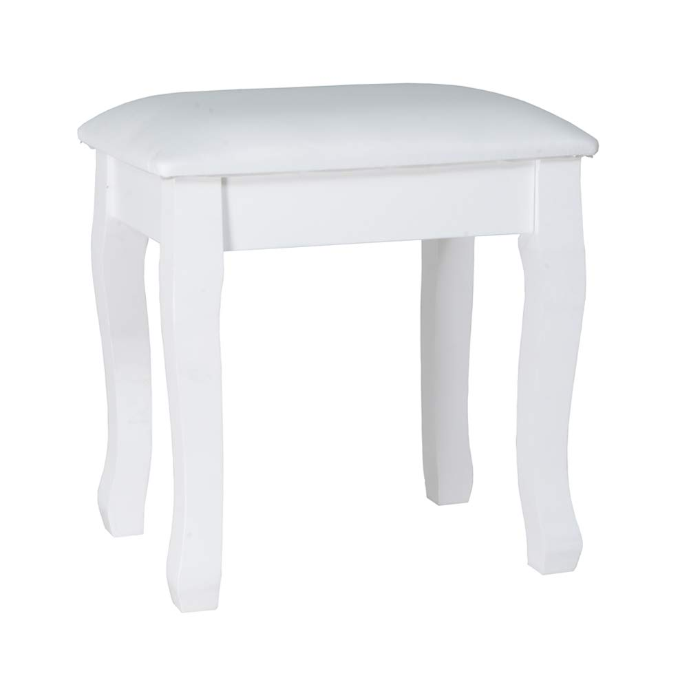 Organizedlife White Vanity Stool Padded Makeup Chair Bench with Solid Wood Legs by Organizedlife