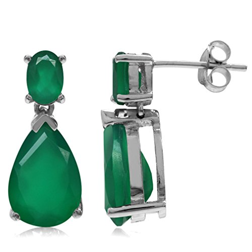 (6.2ct. 12x8MM Natural Pear Shape Emerald Green Agate 925 Sterling Silver Drop Dangle Post Earrings)