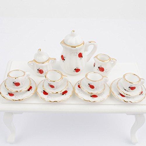 NW 1 Set 15 pieces Lovely Ladybugs Ceramics Tea Cup Set Lovely Dollhouse Decoration Set Dollhouse Kitchen (Miniature Ceramic Tea Set)