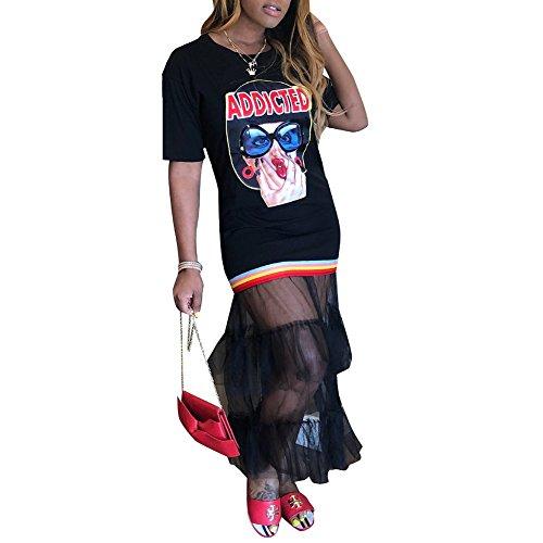 - OLUOLIN Women Rainbow Stripe Short Sleeves Graffiti Graphic Letter Print See Through Mesh Maxi Patchwork Shirt Dress