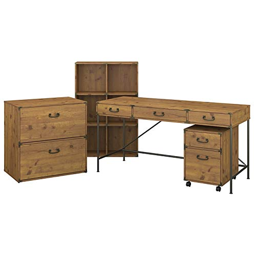 kathy ireland Home by Bush Furniture Ironworks 60W Writing Desk with File Cabinets and Bookcase in Vintage Golden Pine