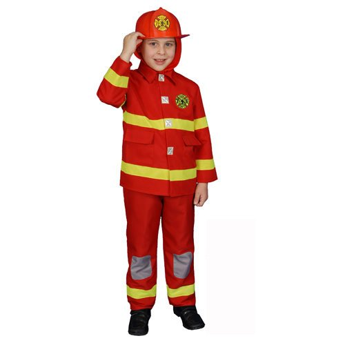 Red Fire Fighter Deluxe Kids Costume Size: Small (Helmet not -