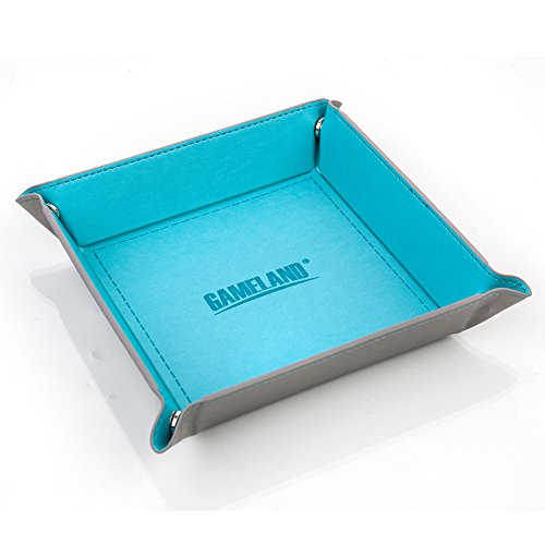 - GAMELAND Eco Friendly PU Leather Collapsible Dice Tray for RPG, DND and Other Table Games Cyan