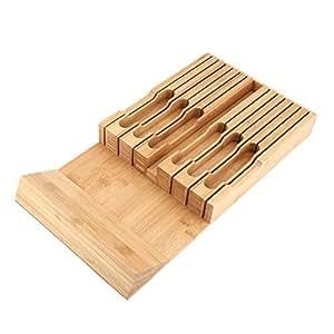 Portacuchillos para cajón, de bambú, organizador de ...