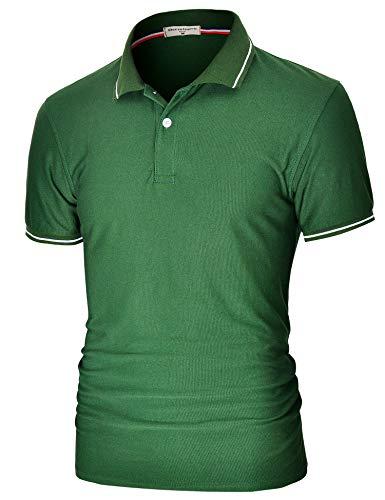 Derminpro Mens Summer Soft Slim Fit Short Sleeve Stretchy Polo Shirts Dark Green XX-Large
