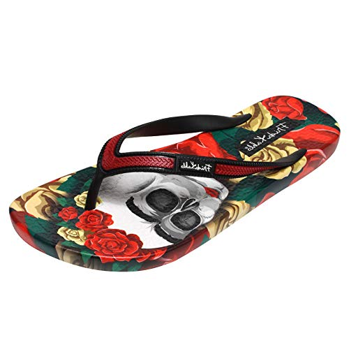 Ish Original Official Frida Kahlo Rose Skull Red Women Flip-Flop Sandal US 10 B (M)