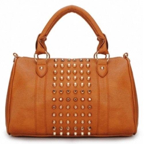 1 Of 3 Color:women Punk Style Rivets Barrel Handbag(color:brown) Puntung Shop