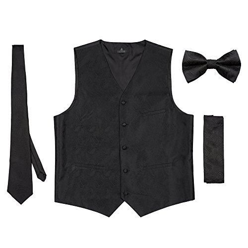 Vittorino Men 's 4 Piece Formal Paisley Vest Set With Tuxedo Vest Tie Hankerchief Bow Tie,Black,Large