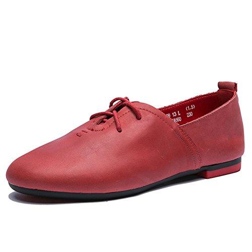 otoño vintage/cordón redondo plano/Zapatos de las señoras/Zapatos de fondo suave B