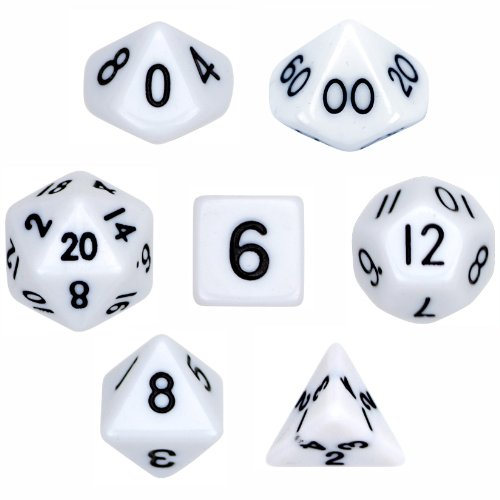- 7 Die Polyhedral Dice Set - Solid White with Velvet Pouch By Wiz Dice