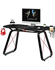 Mahmayi GT010 Modern Racing Style Gaming Table, Carbon Fiber PVC on MDF with Gear hook, Cup holder and Controller holders - Black