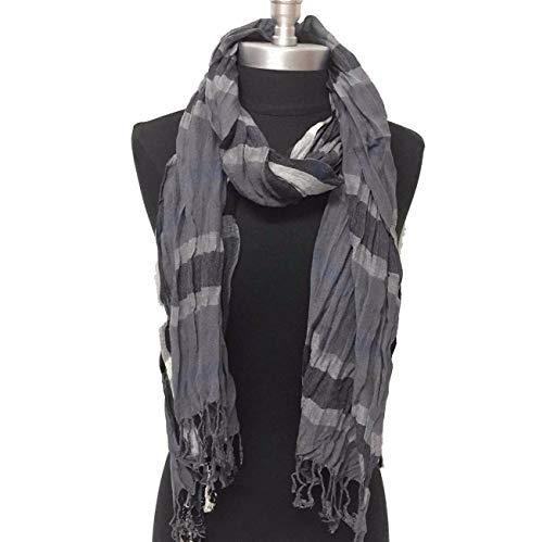 (Unisex United States Cotton Blend Fashion Scarves Soft Crinkle Style Long Scarf Wrap Dark Gray - Black Winter Long)