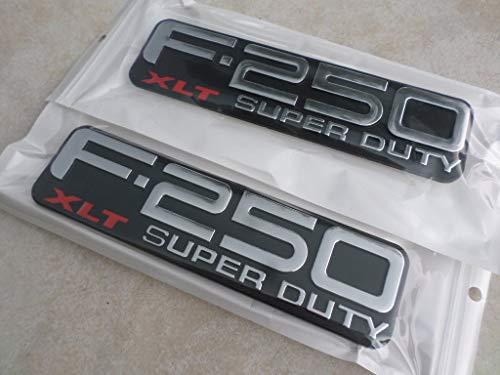 99-04 NEW Ford F-250 XLT Super Duty Decorative Nameplate Logo F81Z-16720-RA Emblem Decal Script Ornament Set of 2 -