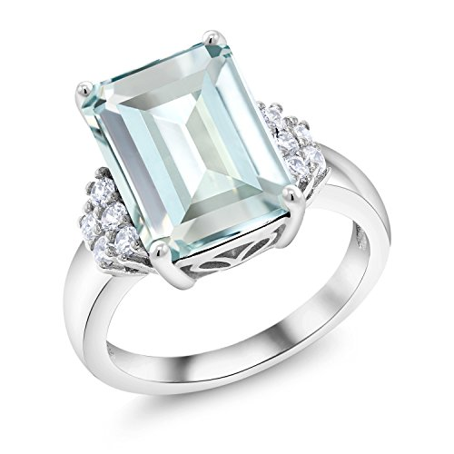Gem Stone King Sterling Silver Sky Blue Simulated Aquamarine Women's Ring (6.94 cttw Emerald Cut Available in size 5, 6, 7, 8, 9)