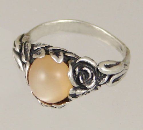 An Elegant Sterling Silver Gothic Ring Featuring Peach Moonstone Made in America