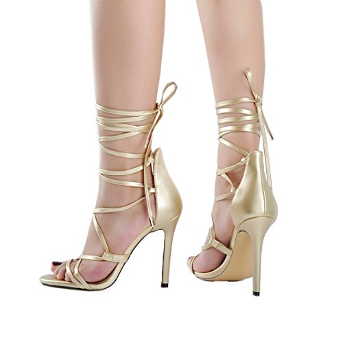 Harmoni onlymaker Gladiator Women's Stiletto Toe Sandals Lace Heeled up Ankle Heels High Strap Gold Strappy Open rPrxfwq5U