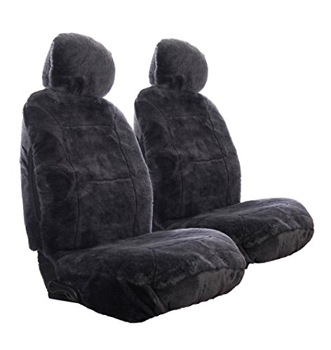 Sheepskin Car Seat Covers, Premium Set of 2, Genuine Australian Sheepskin Front, Universal Size, Back Storage Pocket, Stylish Design, Gray Color by Eden & Main